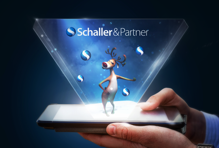 we have designed and developed a hologram christmas greeting cards for Schaller & Partner